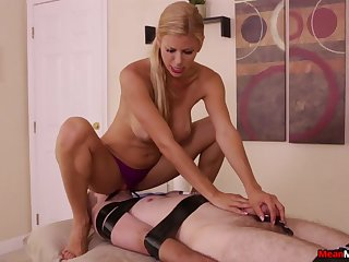 Smashing nude porn with a dominant MILF and her male slave